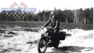 Derek Upton on his Triumph TRW on Luneburg Heath, Germany, 1952