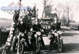 "Triumph TRW convoy Germany. Derek Upton on the left, Ray Wayman in the centre and Corporal ""Big Mac"" McRobb (Big Mac used to pick his bike up and place it on the cleaning bench instead of using the ramp). The Rock Apes RAF Regiment"