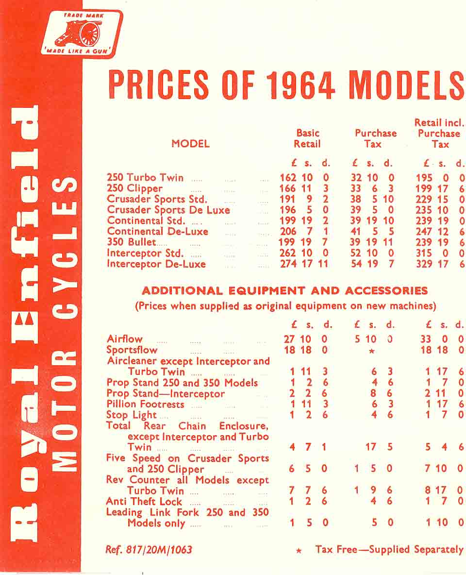 Royal Enfield Price List 1964 - Classic Bike History