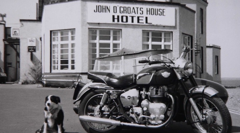 Phil Sampford's MK1 fitted with a Watsonian Palma Sidecar outside John O'Groats in 1984. The bike has travelled to every county in Britain!